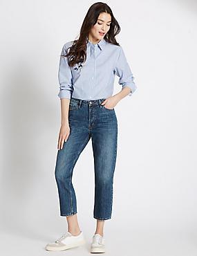 Mid Rise Cropped Straight Leg Jeans, INDIGO, catlanding