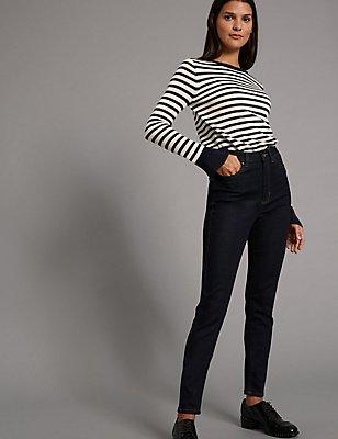High Waist Skinny Leg Jeans, , catlanding