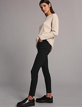High Waist Skinny Leg Jeans, BLACK, catlanding