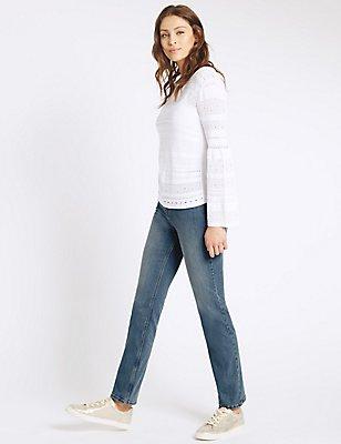 Sculpt & Lift Straight Leg Jeans, LIGHT INDIGO, catlanding