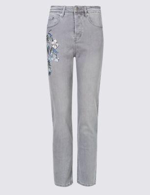 Прямые потёртые джинсы с цветочной вышивкой M&S Collection T571017