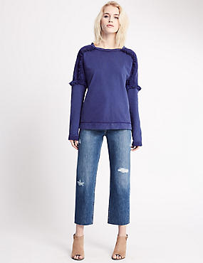 Mid Rise Straight Leg Jeans, MEDIUM INDIGO, catlanding