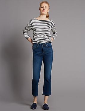 Jean semi-bootleg taille normale coupe évasée, INDIGO MOYEN, catlanding