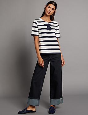 Jeans de pata ancha de talle alto con orillo, MEZCLA DE TONOS AÑIL, catlanding