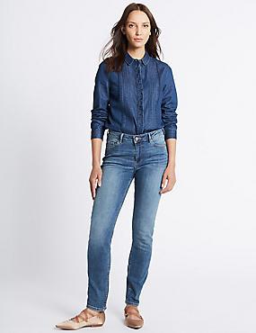 Slim Leg Jeans, MEDIUM INDIGO, catlanding
