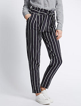 Linen Blend Striped Utility Tapered Leg Trousers