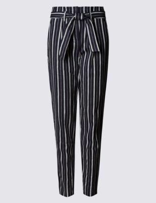 Льняные зауженные брюки в контрастную полоску от Marks & Spencer