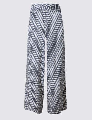 Широкие укороченные брюки с мозаичным принтом