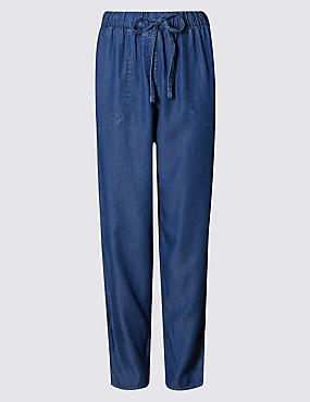 Denim Tapered Leg Trousers