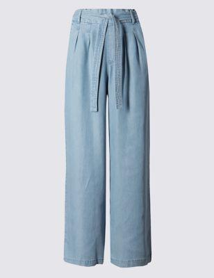 Широкие укороченные брюки из лиоцелла