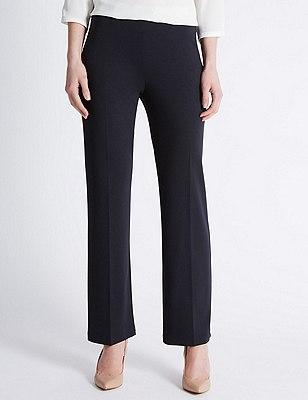 Flat Front Slim Leg Trousers, DARK NAVY, catlanding