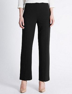 Flat Front Slim Leg Trousers, BLACK, catlanding