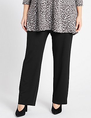 PLUS Ponte Slim Leg Trousers, BLACK, catlanding
