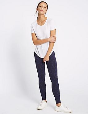 Cotton Rich Printed Leggings, NAVY MIX, catlanding