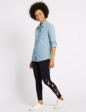 Cotton Rich Embroidered Leggings, NAVY, catlanding