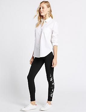 Cotton Rich Embroidered Leggings, BLACK MIX, catlanding