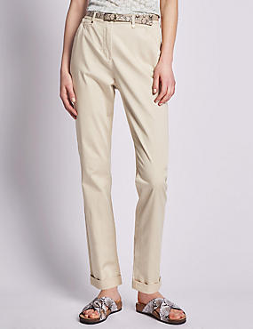 Roma Rise Cotton Rich Straight Leg Chinos with Belt, STONE, catlanding