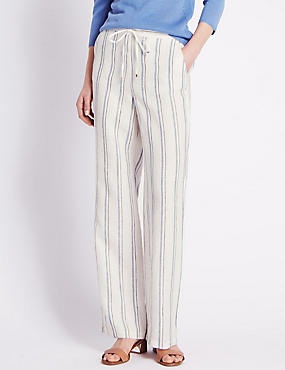 Roma Rise Pure Linen Striped Wide Leg Trousers, CHAMBRAY MIX, catlanding