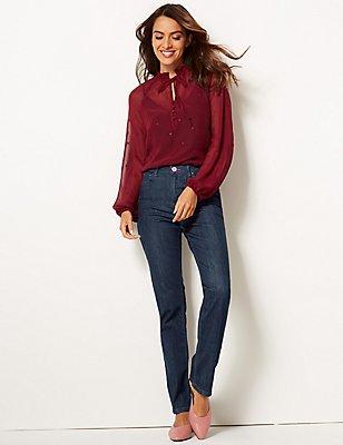 Figuurcorrigerende jeans met smalle pijpen, INDIGO, catlanding