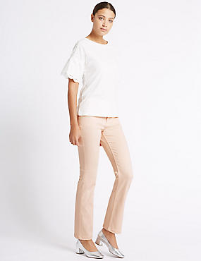Jeans van satijnweefsel met roma-taille en rechte pijpen, FLETS ORANJE, catlanding