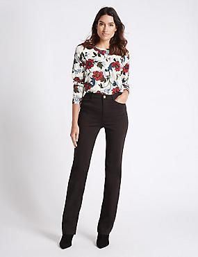 Jeans van satijnweefsel met roma-taille en rechte pijpen, CHOCOLADE, catlanding