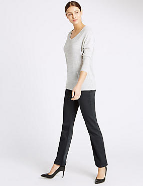 Jeans van satijnweefsel met roma-taille en rechte pijpen, GRIJS, catlanding
