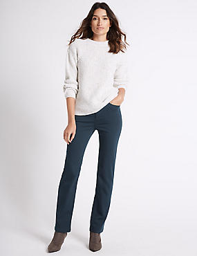 Jeans van satijnweefsel met roma-taille en rechte pijpen, DONKERPETROL, catlanding