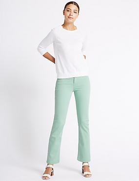 Jeans van satijnweefsel met roma-taille en rechte pijpen, MINT, catlanding
