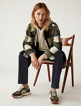 Jeans van satijnweefsel met roma-taille en rechte pijpen, INDIGO, catlanding