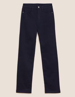 Прямые джинсы с высокой посадкой и стретчевым волокном Per Una T571723U