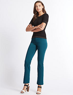 Jeans van satijnweefsel met roma-taille en rechte pijpen, IJSVOGELBLAUW, catlanding
