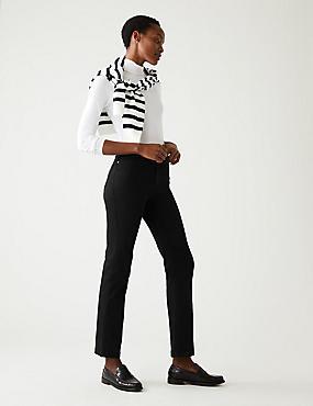 Jeans van satijnweefsel met roma-taille en rechte pijpen, ZWART, catlanding