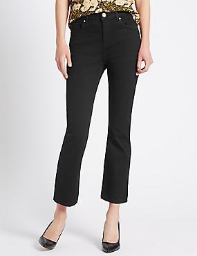 Flare Cropped Jeans, BLACK, catlanding