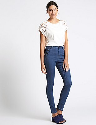 Button Detail Roma Rise Skinny Leg Jeans, BRIGHT INDIGO, catlanding