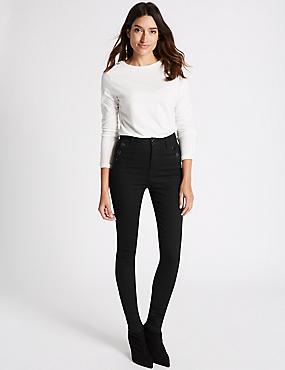Button Detail Roma Rise Skinny Leg Jeans, BLACK, catlanding
