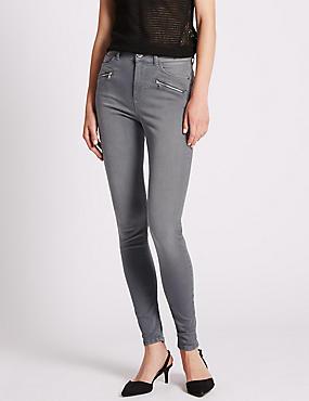 Skinny Leg Denim Jeans, GREY, catlanding