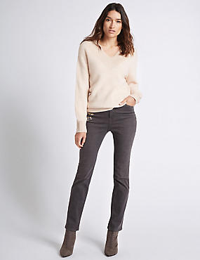 Embroidered Roma Rise Straight Leg Jeans, GREY MIX, catlanding