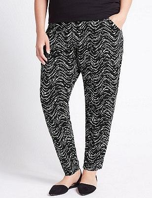 PLUS Wave Print Tapered Leg Trousers, BLACK MIX, catlanding
