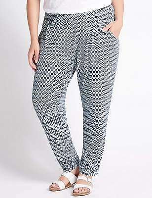 PLUS Geometric Print Tapered Leg Trousers, NAVY MIX, catlanding