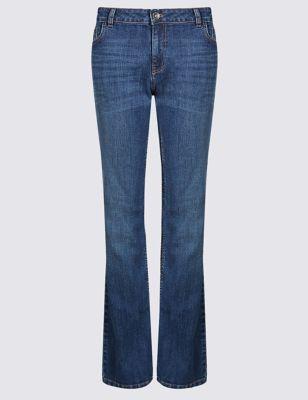 Узкие джинсы буткат со средней посадкой по линии талии Indigo Collection T573165R