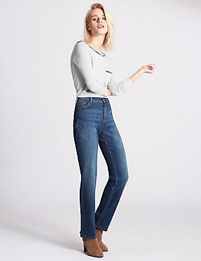 Mid Rise Straight Leg Jeans, MED BLUE DENIM, catlanding