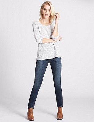 Washed Look Skinny Fit Denim Jeans, MED BLUE DENIM, catlanding