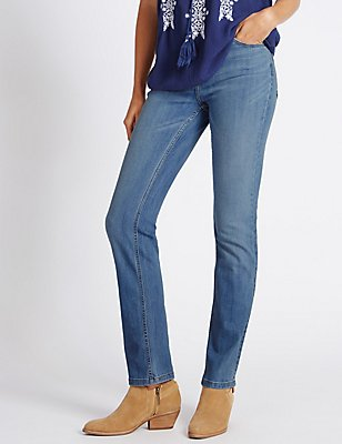 Mid Rise Straight Leg Jeans , LIGHT INDIGO, catlanding