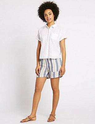 Linen Rich Striped Shorts, BLUE MIX, catlanding