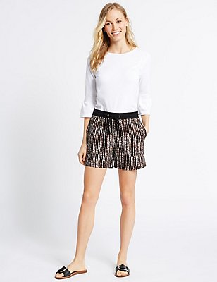 Linen Rich Printed Shorts, BLACK MIX, catlanding