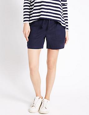 Linen Rich Drawstring Shorts, NAVY, catlanding