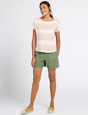 Linen Rich Drawstring Shorts, KHAKI, catlanding
