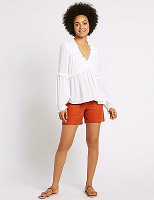 Linen Rich Drawstring Shorts, RUST, catlanding