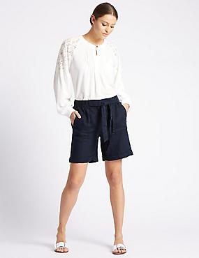Pure Linen Tie Waist Shorts, NAVY, catlanding