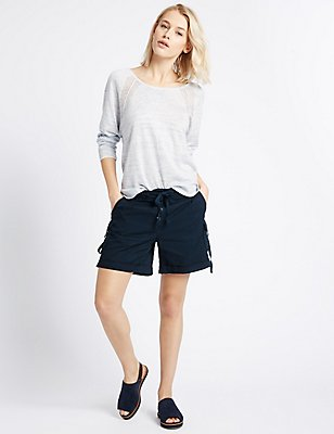 Cotton Blend Striped Shorts, NAVY MIX, catlanding